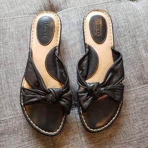 Born black leather knot slide sandal (size 10)
